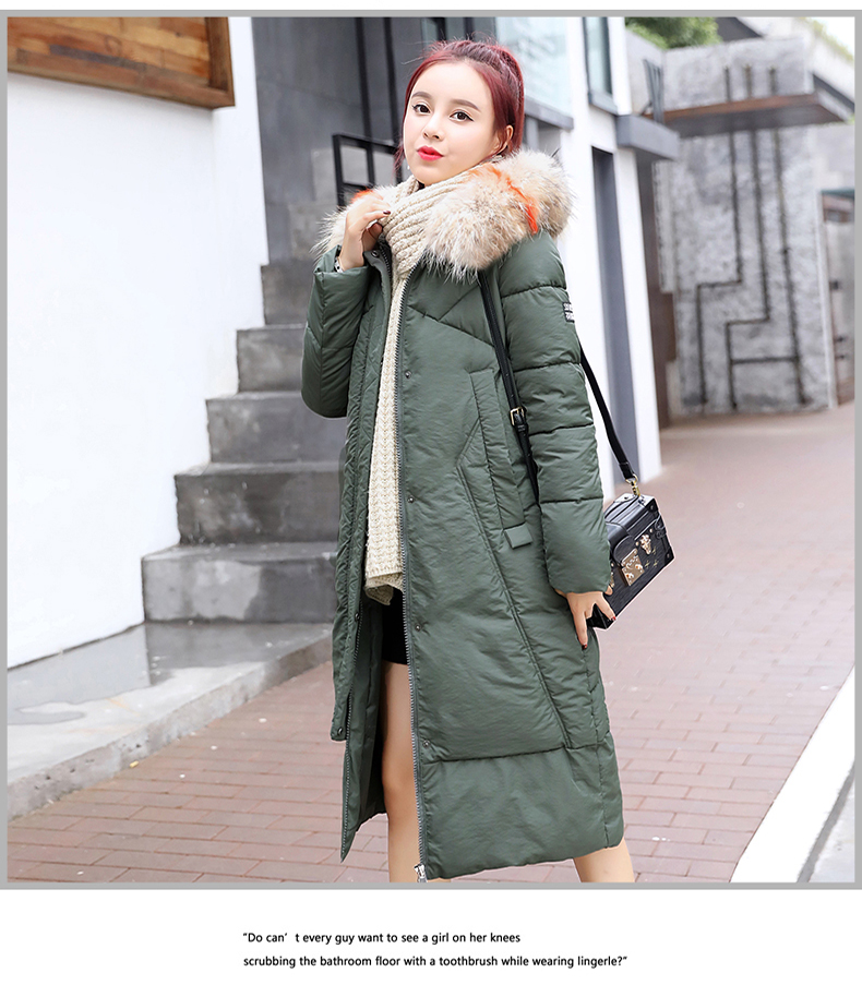 blanco Largo Mujer Negro Moda Invierno Claro 2018 De Algodón Vestido  Coreana Versión Abrigo Acolchada verde ... 23a6726c42c