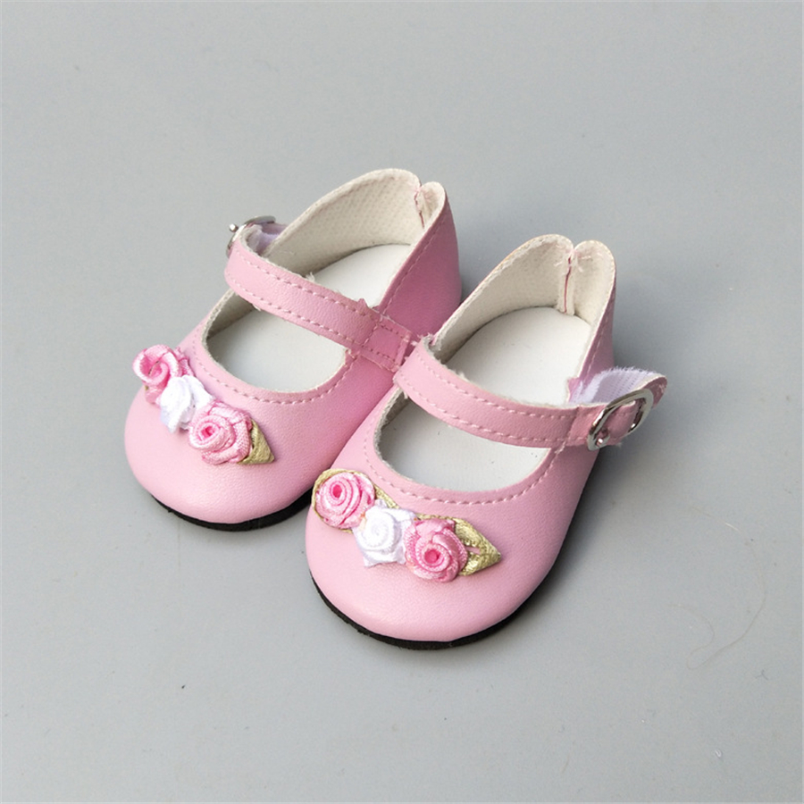 Floral Pink White 7cm Doll Shoes for 43cm Born Baby Doll Shoes Sneackers Fit For 18 inch Doll Shoes Toy Boots Doll Accessories in Dolls Accessories from Toys Hobbies
