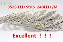 1 / 2 /3 / 4 /5M 12V IP20 Non waterproof  3528 LED Strip 240 led Flexible light 5M/Reel showcase led more bright LED strip white