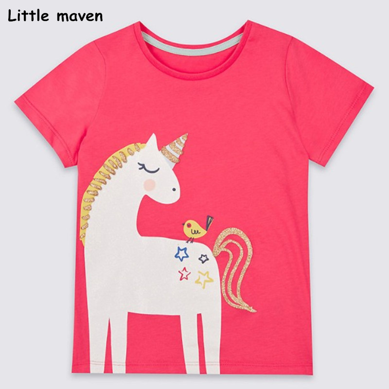 Little maven children clothes 2018 summer baby girls clothes short sleeve tee tops unicorn print Cotton brand t shirt 50961 trendy men s round neck geometric print short sleeve t shirt