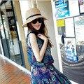 2016 Nueva Moda Panamá Sun Sombrero del Verano Plegable Sombrero de Paja Sombreros De Playa de Las Mujeres 3 Colores de Calidad Superior
