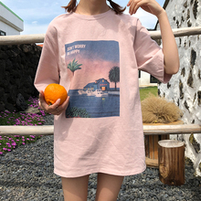 2019 coreana Harajuku Vintage de manga corta impresas T camisa de manga corta las mujeres verano Casual camiseta camisa mujer Streetwear Tops