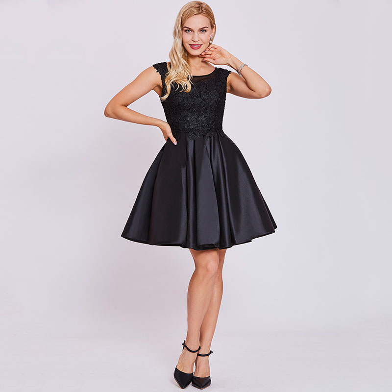1351fec9b0 Tanpell Short Homecoming Dress Black Scoop Cap Sleeves Above Knee A ...