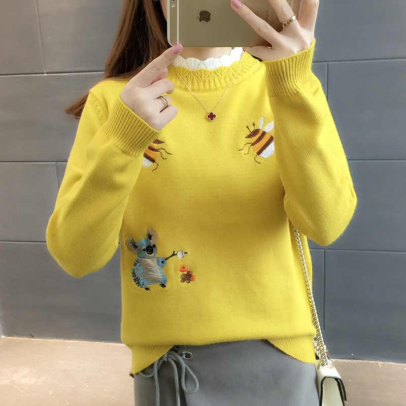 패션 새로운 2020 가을 여성 스웨터 풀 오버 겨울 탑 한국 자 수 작은 꿀벌 느슨한 따뜻한 니트 점퍼 숙 녀 D2531
