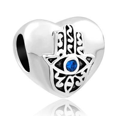 Fit Pandora charm bracelets Births Blue Crystal Evil Eye Charm On Islamic Hamsa Hand Of Fatima Beads for jewelry making