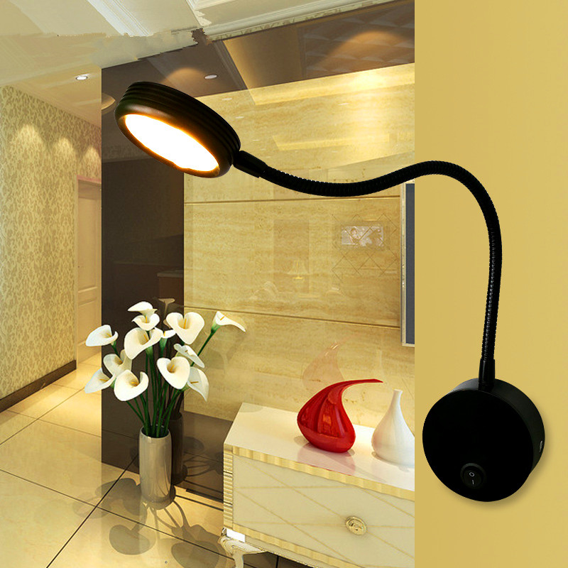 Flexible Hose LED Wall Lamp 5W Children Reading Lamp Bedroom Bedside Lighting With Knob Switch ...