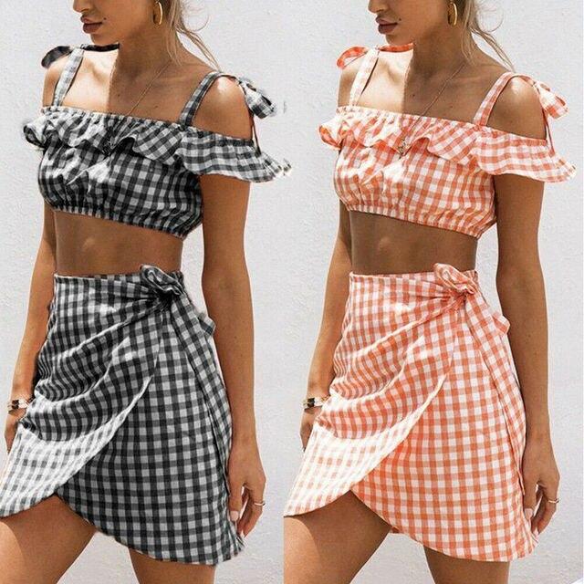Nouveau mode femmes dété à bretelles Boho hors épaule haut court jupe courte ensemble 2 pièce décontracté plage sans manches Plaid robe dété