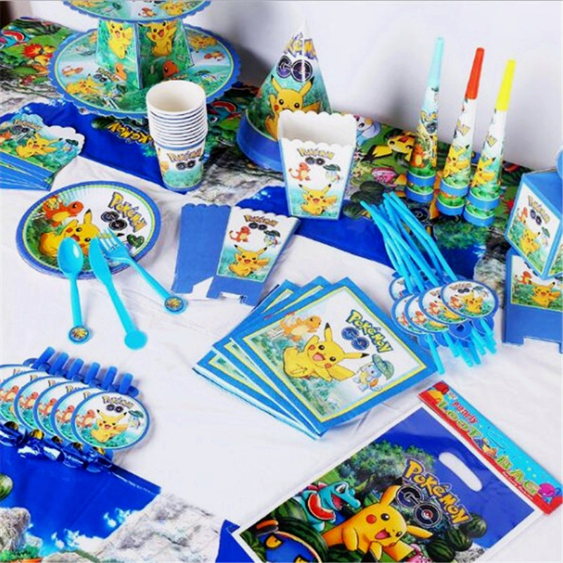 New Pokemon Theme Design 64Pcs/Lot Cup Plate Napkin Child Birthday Party Toy Noise Maker Family Party Banner Decoration Supply