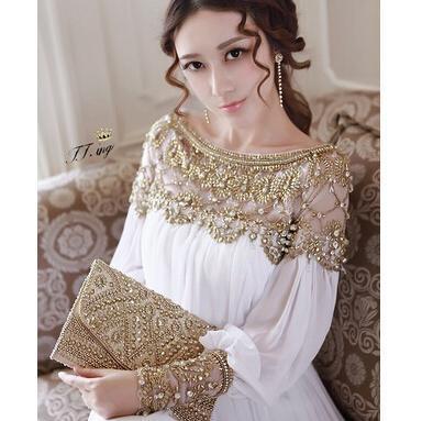 Nouvelle mode luxe perlée en mousseline de soie longue femmes robe élégante marque blanc robe rose