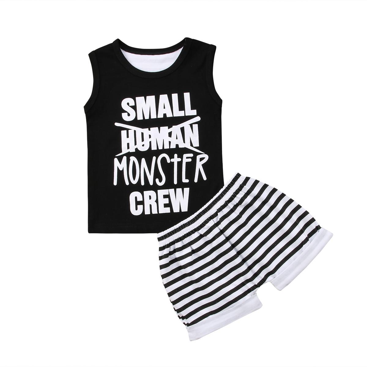 2PCS Set Newborn Toddler Baby Boy Casual Black Tops Tank