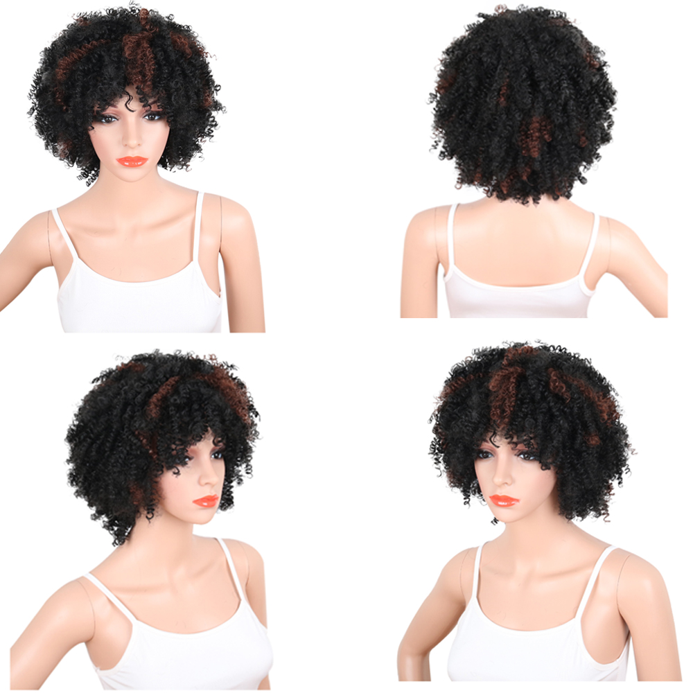 Deyngs Synthetic Short Women Wigs Afro Kinky Curly Black To Brown
