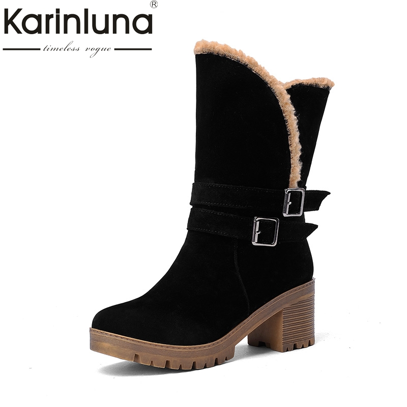 KARINLUNA large Size 34-43 Fashion 2017 Winter Red Brown Black square Heel Warm Fur Platform Shoes Women Snow Boots  new fashion style snow boots winter fashion black brown warm fur women casual shoes on sale size 34 39