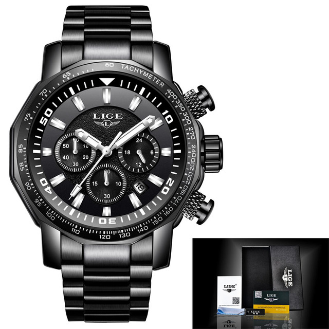 LIGE Mens Watches Top Brand Luxury Special Watch Men Stainless Steel Waterproof Clock Military Sport Watch Quartz Wristwatch | Fotoflaco.net