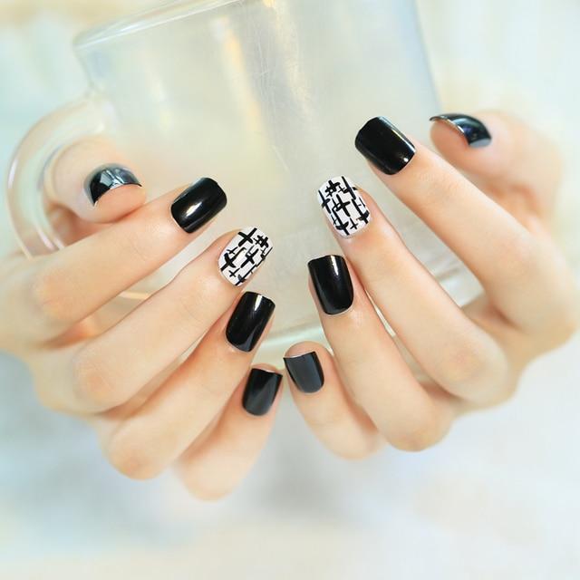 Yunail 24pcs Short Fake Nails White Black Curved Acrylic Nail Tips With Adhesive Sticker Link Full