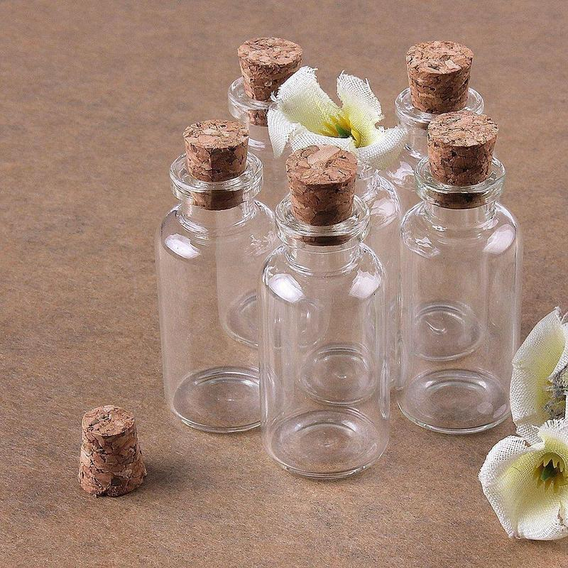 4-20ml Mini Wishing Bottle Tiny Small Empty Clear Cork Glass Bottles Vials For Wedding Favors Holiday Decoration Jars Containers