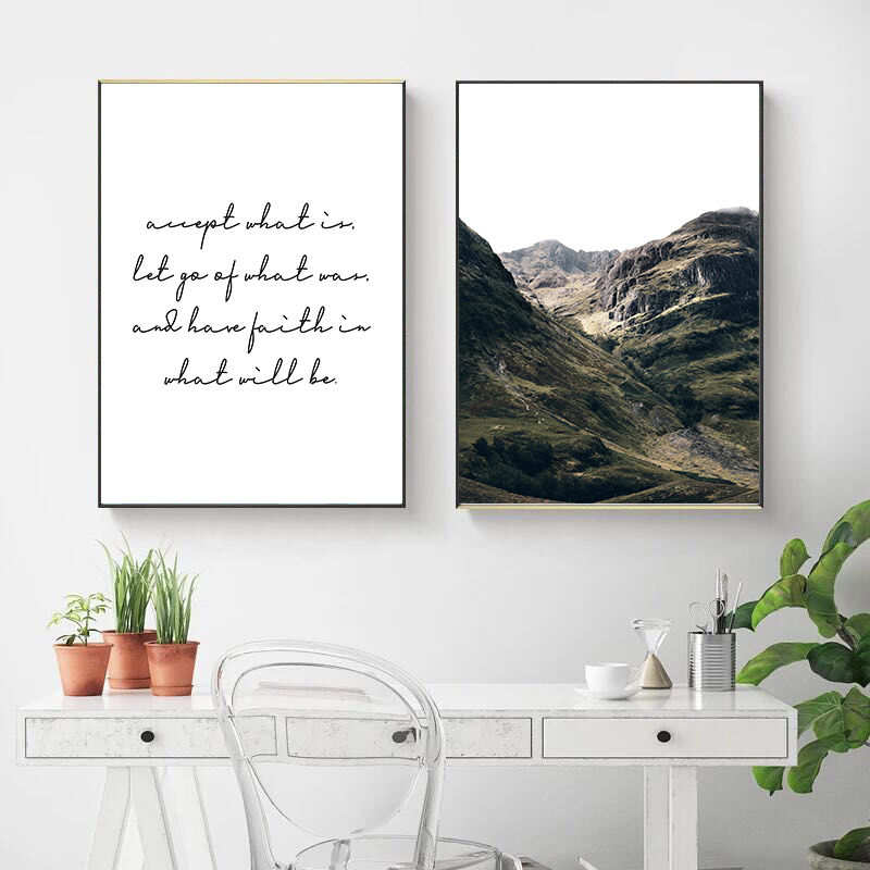 Mountain Coastal Landscape Poster Nordic Decoration Wall Art Print Canvas Painting Decorative Picture Scandinavian Home Decor in Painting Calligraphy from Home Garden
