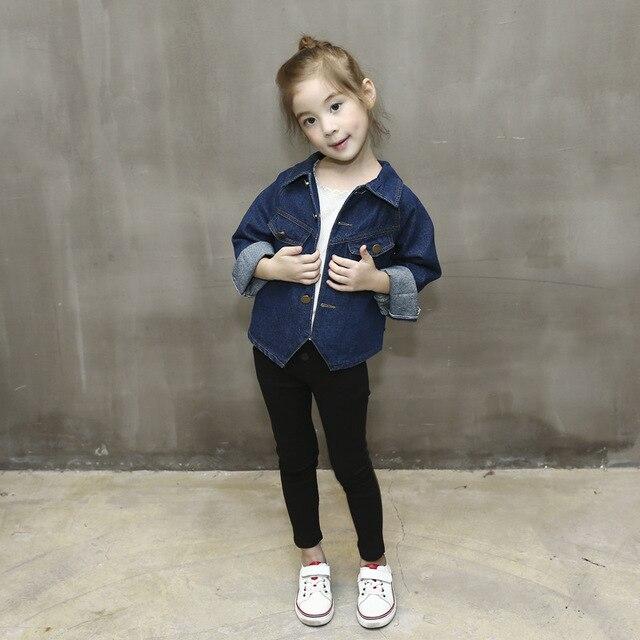 b0d5e375de Cute Baby Girls New Autumn Short Style Blue Jeans Coat + Black Leggings Skinny  Pants Kids Girls Last Fashion Clothing Suit 2-7Y