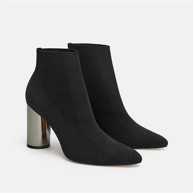 Stretch Knitting High Heel Sock Boots Women Brand Design Deep Green Boots  Sexy Pointed Toe Ankle bf9095365b32