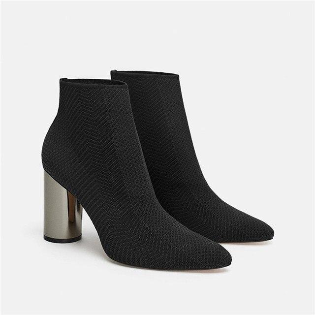 Stretch de punto de tacón alto calcetines botas de las mujeres de la marca de diseño verde profundo botas Sexy punta defilè tobillo botas para mujeres SWE0394