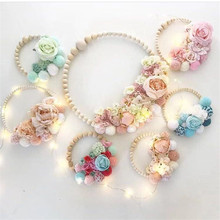 Nordic Wooden Hair Ball Flower Ring Garland Kids Room Wall Decor Travel Baby Girl Accessories Photography Props