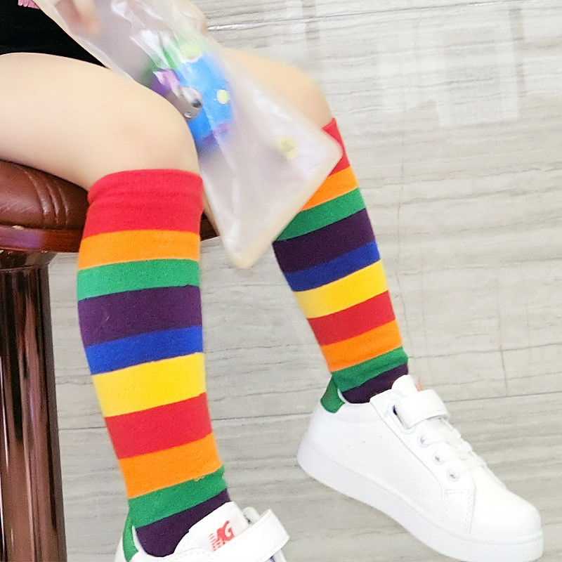 1 Pair Baby Kids Boy Girl Knee High Rainbow Striped Tube Warm Long  Stocking
