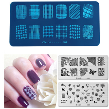 COOI--20Styles 6*12cm Rectangle NAIL ART STAMPING PLATES  French Manicure 3D Pattern Stencils Polish Printing Template Plate 1pc