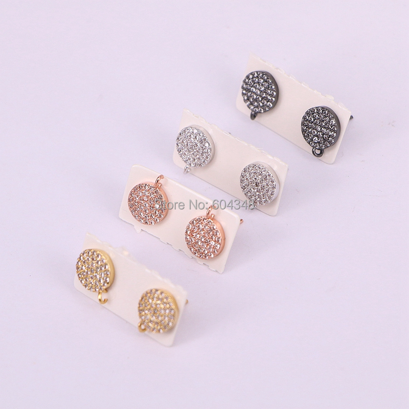 10 Pairs ZYZ177-8716 Gold Silver Black Round Earring Micro Pave CZ Zircon Earring Studs Findings