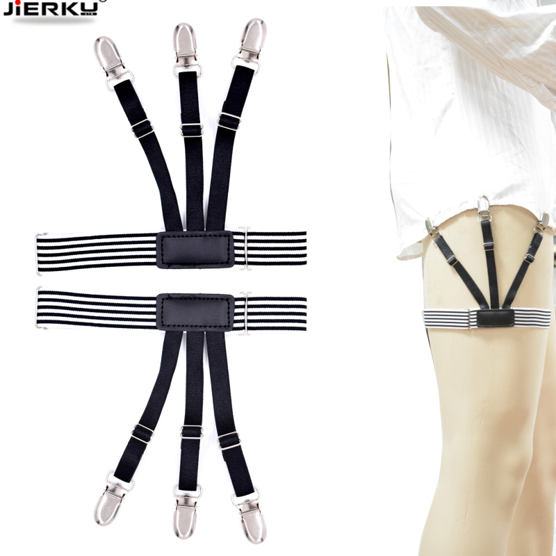 1pair Men Women Adjustable Elastic Shirt Garters White Shirt Stays Holder Leg Suspenders Shirt Braces Gourd Buckle Shirt Garters Men's Suspenders Apparel Accessories