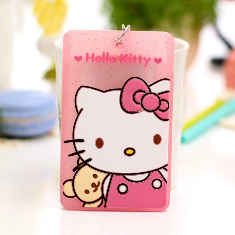 Cute Card Holder Cartoon Character Bus Name ID Hanging School Job Id Fluorescence Silicone Card Passport Holder with String non woven fabrics hanging type 18 cd dvd card holder beige