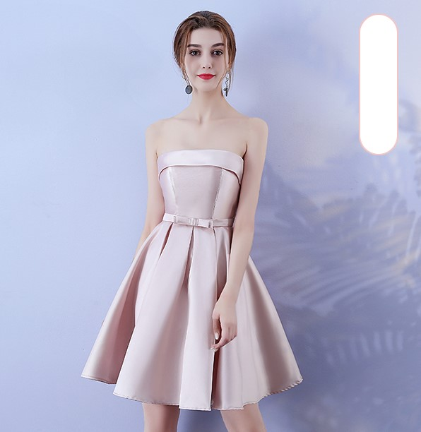 Red Bean Pink Colour Sleeveless  Above Knee  Mini Dress Bridesmaid Dress  Wedding Guest Dress Sexy Back Of Bandage