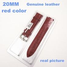 1 UNIDS Alta calidad 20 MM genuino correa de reloj banda de cuero de vaca de color Rojo-06257