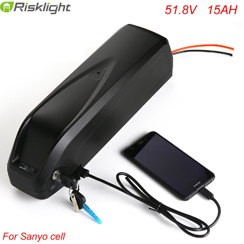 14S 52V 15AH Lithium ion Battery USB Port 51.8V 1000w Hailong Battery Packs For 48v 1000w Bangfang BBS02 BBSHD Use Sanyo cell free customs taxes super power 1000w 48v li ion battery pack with 30a bms 48v 15ah lithium battery pack for panasonic cell