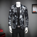 Fashion 2017 Men Blazer Hot Sale Spring Mens Floral Blazer Jacket Single Breasted Mens Dress Suit Long Sleeve Casual Blazer Men