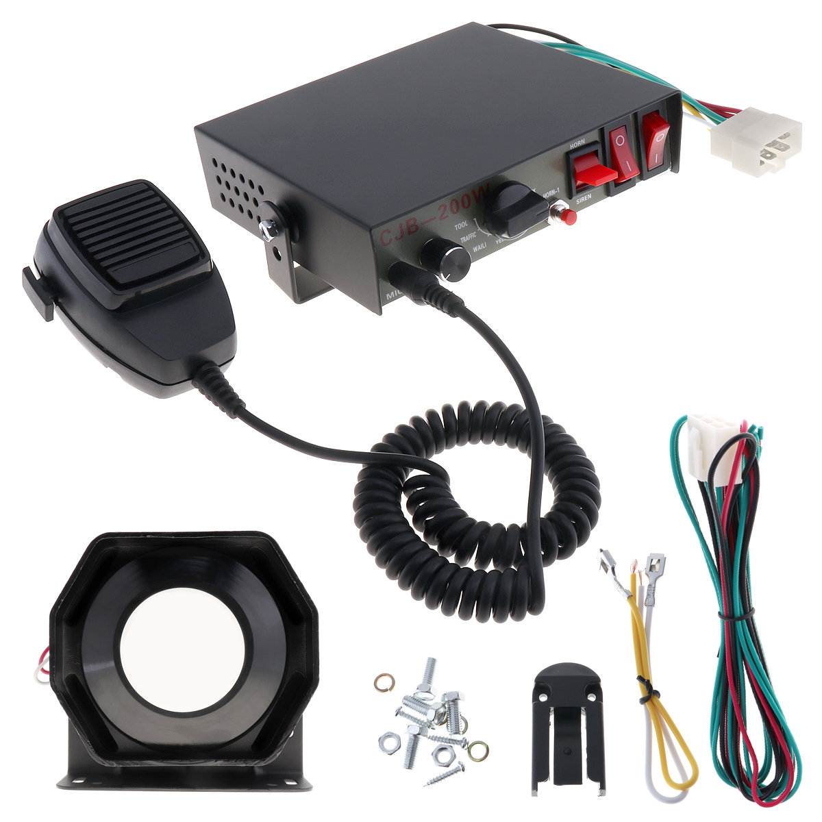 12V 200W 8 Sounds Speaker Car Warning Alarm Police Fire Siren Horn PA with MIC System