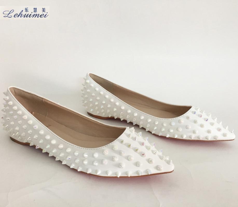Новое Прибытие 2018 мода заклепки женщины квартиры обувь сексуальный с острым носом женщины низком каблуке обувь женщина увеличение леди квартиры