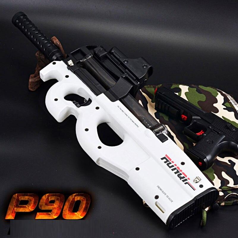 Électrique en plastique blanc P90 Graffiti édition jouet pistolet eau douce balle jouet pistolet en plein air en direct CS arme pistolet à eau jouets pour enfants