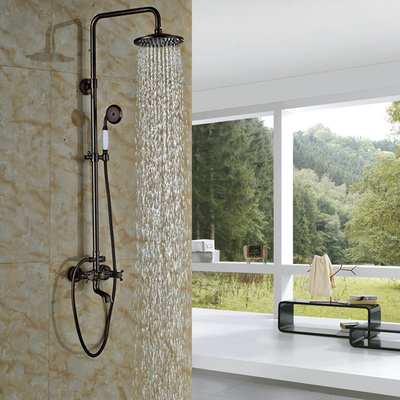 Best Quality Oil rubbed Bronze 8 Rain Shower Faucet Mixers with Brass Ceramic Handshower Wall Mounted