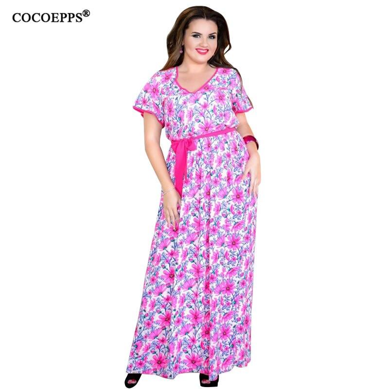 5XL 6XL Plus velikost květinový tisk dlouhé šaty Maxi jaro léto velké velikosti ženy plážové šaty Vintage večer velké velikosti Robe Vestidos