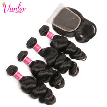 Vanlov Hair Loose Wave 4 Bundles With Closure Malaysian Human Hair Weave Bundles With 4*4 Lace Closure Non Remy Hair Extension(China)