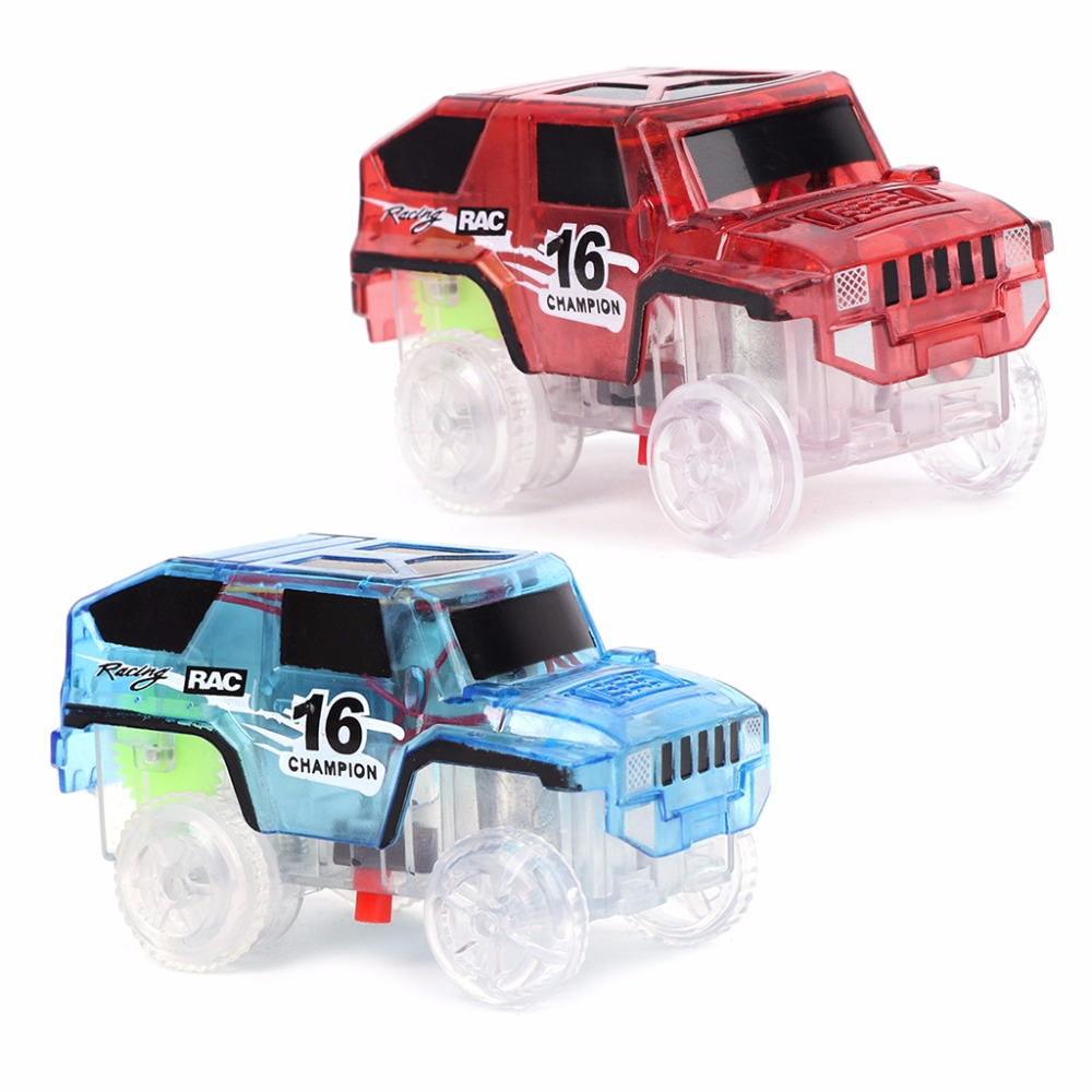 Glowing In Dark Bend Flex Racing LED Car Toy for DIY Miraculous Magical Track 280pcs miraculous race track bend flex car toy racing track set diy track electric rail car model set gift for kids