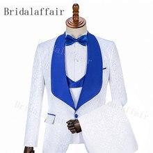 79fb887dea55 Bridalaffair Élégant Marque Slim Fit Fumer Costume pour Homme Costume 3  Pièce Homme Blanc De Bal Smoking Marié Costumes Royal Bl..