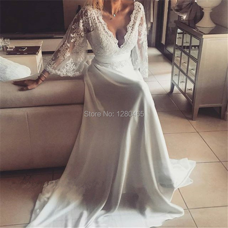 Sexy Beach Wedding Dresses Vintage Lace Wedding Dress with Sleeves Deep V Neck and Back with Lace Appliques Vestido Noiva Renda