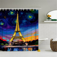 New Polyester Waterproof Blue Purple Bath Curtain Unique Paris Eiffel Tower Oil Painting Pattern Shower Curtain