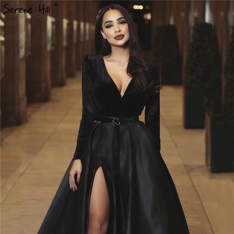 Black Velvet Deep V-Neck Sexy Evening Dresses Long Sleeves Simple Burgundy  Evening Gowns 2019 Serene Hill LA60706 gown