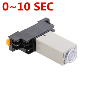 1pcs H3Y-2 DC 12V 24V /AC 110V 220V Delay Timer Time Relay 0 - 10 SEC with Base 5A