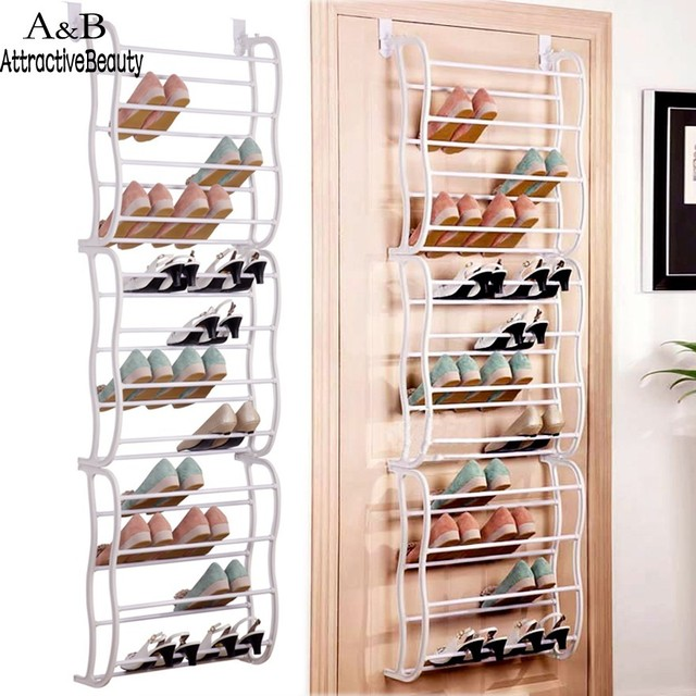 Beau 12 Layers Fit 36 Pairs Portable Multifunctional Shoe Rack Hanging Over The Door  Shoe Organizer