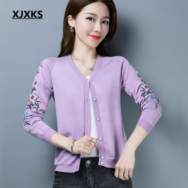 XJXKS New Selling Spring 2019 Women Sweater Embroidery Floral V neck Single Breasted Cardigans High Quality