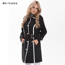 MS Vassa Для женщин пальто весна длинным Тренчи пальто коллекция 2017 года; Новинка; модная ветровка отложной воротник регулируемый поясной ремень большие размеры S-7XL
