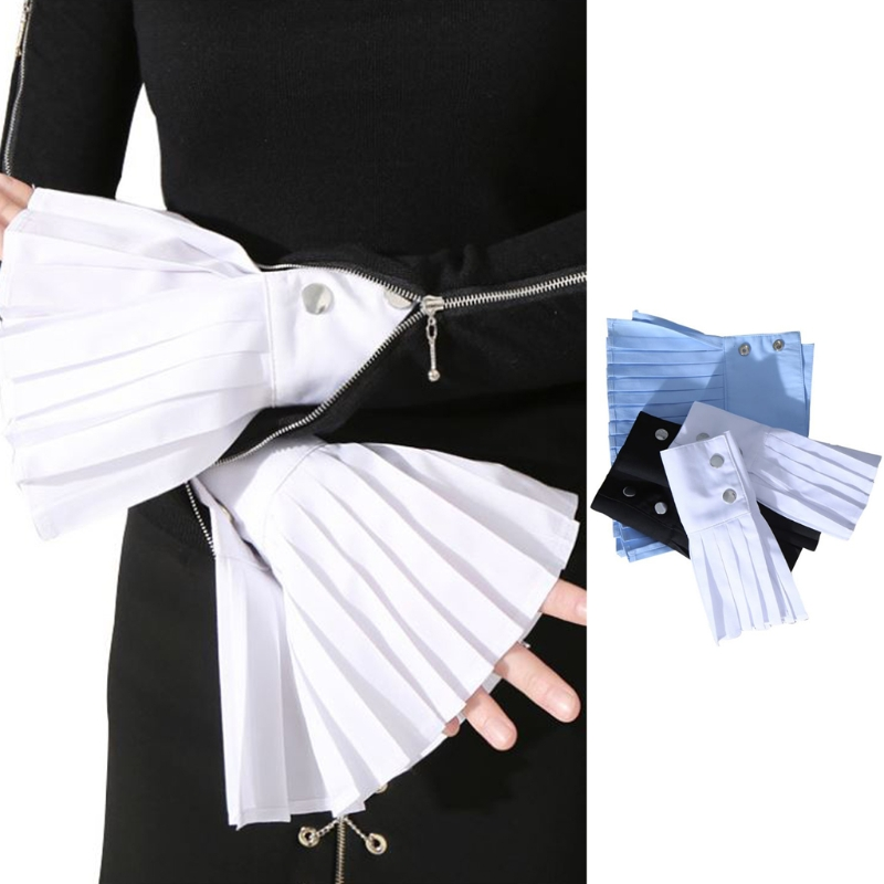 Armstulpen Damen-accessoires GüNstiger Verkauf Klv 1 Para Abnehmbare Hemd Plissee Horn Flare Hülse Manschetten Über Hülse Handschuhe Reine WeißE