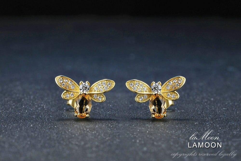 LAMOON Bee Earring For Women 925 Sterling Silver Citrine Gemstone Stud Earrings 14K Yellow Gold Plated Fine Jewelry LMEI041